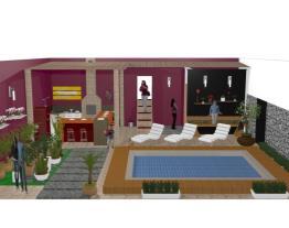 piscina, churrasqueira e jardim