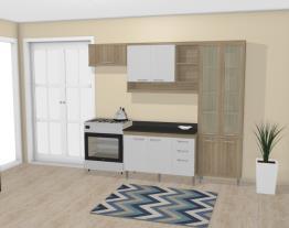 Cozinha Modulada Completa 4 Módulos Sicília Argila/Branco Texturizado - Multimoveis