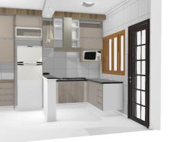 Cozinha L  armário e geladeira sala jantar 7