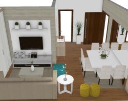Salas integradas estar e jantar - Graziela Lara