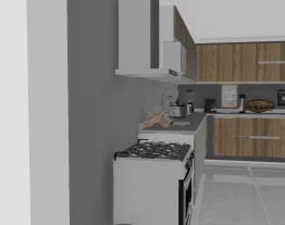 Cozinha grande com balcões de canto e superiores