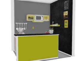 Cozinha com Bancada - Cinza e amarelo