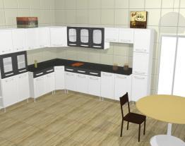 Cozinha Modulada Completa 11 Módulos Evidence em Aço Branco/Preto - Bertolini